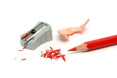 Red pencil sharpened Stock Photos