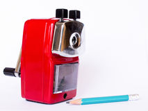 Red pencil sharpener Stock Image