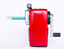 Red pencil sharpener Royalty Free Stock Images