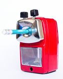 Red pencil sharpener Royalty Free Stock Image