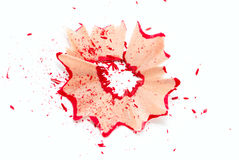 Red pencil shavings Stock Images