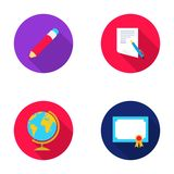 Red pencil, a sheet of paper with a blue handle, a diploma with a seal, a globe on a stand.School set collection icons Stock Photos