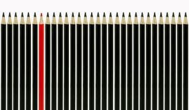 Red Pencil standing out Stock Photos