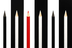 Red pencil standing out from crowd of black and white fellows on bw stripe background. business success concept of leadership uniq Royalty Free Stock Photo