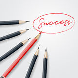 Red pencil standing out from crowd out from black pencil with su Royalty Free Stock Photos