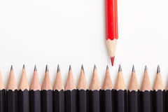 Red pencil standing out from crowd Stock Image
