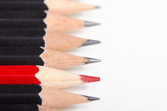 Red pencil standing out from crowd Stock Images