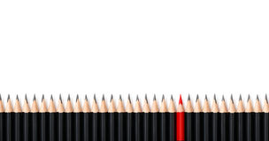Red Pencil Standing Out From Crowd The Same Black Bold Pencils On White Background, With Space For Text. Leadership