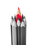 Red pencil surrounded by black and white pencils Stock Images