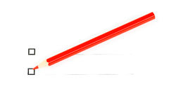 Red pencil with two unticked checkboxes. Against white background Royalty Free Stock Photos