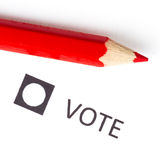 Red pencil used for voting Royalty Free Stock Image