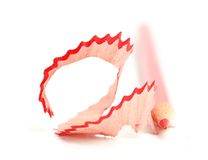 Red pencil  on a white background Royalty Free Stock Photo