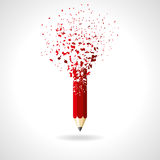 Red pencil on a white background. idea Stock Image