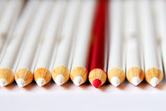 Red Pencil. A red pencil between white pencils Royalty Free Stock Image