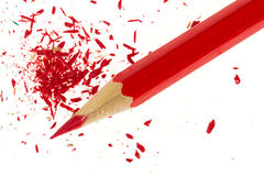 Red pencil and wood shavings Royalty Free Stock Photo