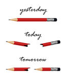 Red pencil with words tomorrow, today and yesterday. Royalty Free Stock Image
