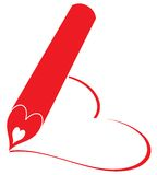 Red pencil write heart. On white paper Royalty Free Stock Photos