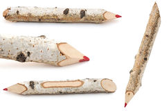 Red pencils collection made from tree branches Stock Image