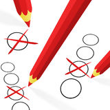 Red pencils with crosses Stock Image