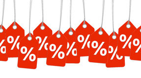 Red pendants with % signs - endless. Red pendants with % signs endless Royalty Free Stock Images