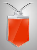 Red pennant hanging on a nail on the wall with shadow. Vector illustration Vector Illustration