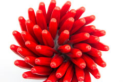 Red pens. On white background stock photo