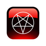 Red Pentacle button. Isolated on white Royalty Free Stock Photo