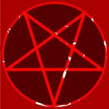 Red pentacle on coloful background Royalty Free Stock Images