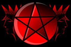 Red pentacle with heads of king in red and black Stock Images