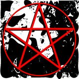 Red pentacle on spotted background  Royalty Free Stock Photography