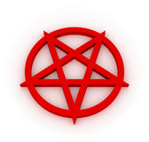 Red Pentagram. Red 3D pentagram on white plane - mystic occult symbol Stock Photo