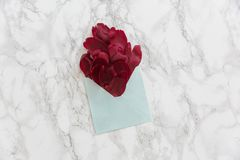 Red peonie`s petals in the envelope Stock Photo