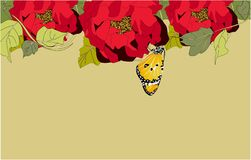Red Peonies and Butterfly Banner, vector illustration vector illustration