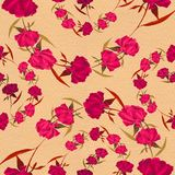 Peonies - flowers and leaves. Decorative composition on a watercolor background. Floral motifs. Seamless pattern. Use printed mate. Red peonies - flowers and Royalty Free Stock Images