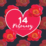 Red Peony Flowers. Heart frame. 14 february. Happy valentines day Stock Photography