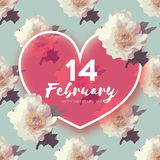Red Peony Flowers. Heart frame. 14 february. Happy valentines day Stock Images