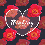 Red Peony Flowers. Heart frame. 14 february. Happy valentines day Royalty Free Stock Images