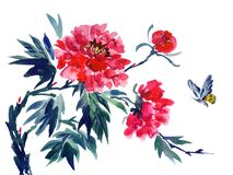 Red peony and flying butterfly, watercolor illustration on a white background