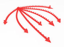 Red People Arrows. Crowd of small symbolic 3d figures riding arrows, isolated Stock Image