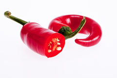 Red peperoni peppers isolated on white background Royalty Free Stock Image