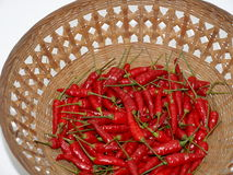 Red pepper. A pile of red pepper in the basket isolated on white background Royalty Free Stock Photo