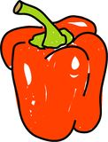 Red pepper. Isolated on white drawn in toddler art style stock illustration