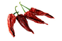 Red pepper. Pods of dried red pepper on a white background royalty free stock photo