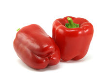 Red pepper. And leaves of salad isolated on a white background Stock Photography