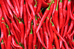 Red pepper background. A background of hot red chili peppers Royalty Free Stock Photography