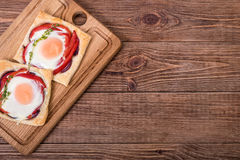 Red pepper and baked egg galettes. Breakfast Stock Photos