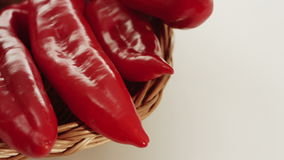 Red pepper in basket, food background, dolly shot stock video footage