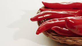 Red pepper in basket, food background stock video footage