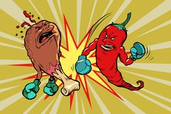 Red pepper beats fast food fried chicken leg. Vegetarianism and a healthy lifestyle. Comic book cartoon pop art retro vector illustration Royalty Free Stock Image