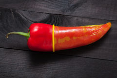 Red pepper on black Stock Images